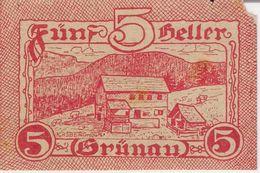 """Österreich Austria Notgeld 5 Heller FS300a Error """"am"""" Instead Of """"bis"""" GRUNAU /204M/ - Autriche"""