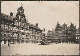 Groote Marktplaats En Standbeeld Brabo, Antwerpen, Belgie, C.1950 - Thièry BF Foto Briefkaart - Antwerpen