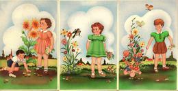 3 CPSM Illustrateur D'Enfants Couleur - Enfants, Fleurs, Papillons & Oiseaux - 1950/60 - Contemporain (à Partir De 1950)