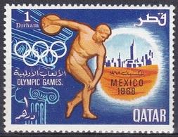 Qatar Katar 1968 Sport Spiele Olympia Olympics Mexiko-Stadt Mexico Diskuswerfer, Mi. 361 ** - Qatar