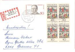 Bund  Michel #  897 4-er Block /  865 Auf Schöne  R Brief Mit Einlieferungsschein - Lettere
