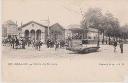 Cpa Bruxelles . Vue Animée De La Porte De Ninove. Tram N°422 ( Lagaert. Brux N°78) Dos Simple - Transport Urbain En Surface