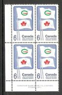 006254 Canada 1969 Games 6c Plate Block 1 LL MNH - Plate Number & Inscriptions
