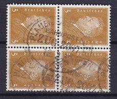 Germany Deutsches Reich 1928 Mi. 410 Friedrich Ebert 4-Block Bahnpost Zug 2097 PLAUEN (Vogtl) - GERA? 1932 - Blocks & Kleinbögen