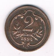2 HELLER 1894  OOSTENRIJK /151G/ - Austria