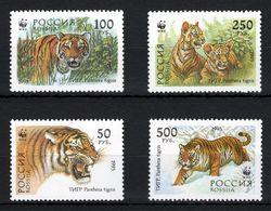 Russia 1993 WWF Siberian Tiger Animals Tigers Animal Panthera Fauna Mammals Big Cats Stamps MNH Mi 343-346 Sc 6178-6181 - Big Cats (cats Of Prey)