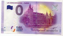 2017-1 BILLET TOURISTIQUE 0 EURO SOUVENIR N° UEFZ000908 LA CONCIERGERIE PARIS N° Inférieur à 1000 - EURO