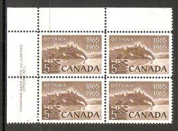 006268 Canada 1965 Capital 5c Plate Block 1 UL MNH - Plate Number & Inscriptions