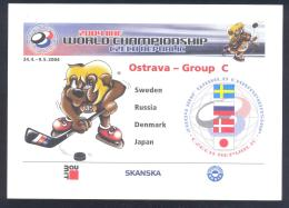 Czech Republic Postal Stationery Card 2004: Ice Hockey Sur Glace Eishockey IIHF World Championship Mascot Group C Russia - Hockey (sur Glace)