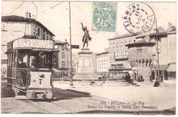 CPA HAUTE LOIRE.LE PUY.STATUE LA FAYETTE.BEAU PLAN DE TRAMWAY - Le Puy En Velay