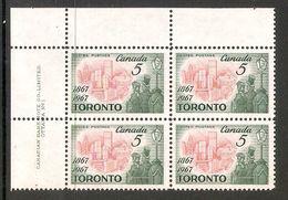 006281 Canada 1967 Toronto 5c Plate Block 1 UL MNH - Plate Number & Inscriptions