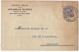 Entier Postal Publicitaire  - Reklame Briefkaart 1922 - Van MUYSEN Naar CHATELET - Société Belge Des Appareils Rateau - Entiers Postaux