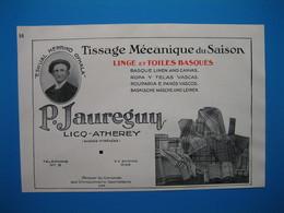 (1937) Linge Et Toiles Basques Des Basses-Pyrénées : P. JAUREGUY à Licq-Atherey -- GEORGES MOUTET à Orthez - Vieux Papiers