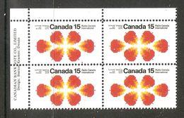 006309 Canada 1971 Radio 15c Plate Block UL MNH - Plate Number & Inscriptions