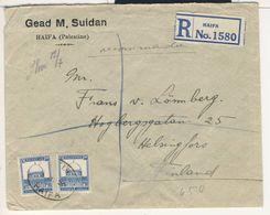 (C09) - PALESTINE - REGISTRED COVER HAIFA => FINLAND 1929 - Palestina