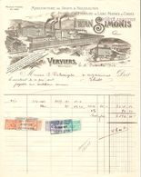 8 Factures Avec TP Fiscaux Différentes Valeurs Iwan Simonis Verviers Manufacture De Draps 1922 VPF15!! - Belgium