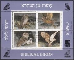 Israel 1987 Tiere Fauna Animals Vögel Birds Eulen Owls Bibel, Bl. 33 Gest. - Israel
