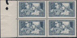 N°__252 CAISSE D'AMORTISSEMENT, BLOC DE 4 TIMBRES TYPE I ET III SE TENANT, TIMBRE NEUF**, 1928 - Nuovi