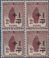 N°__162 à 169 SERIE SURCHARGEE DES ORPHELINS DE GUERRE EN BLOC DE 4 TIMBRES NEUFS 1922** - Nuovi