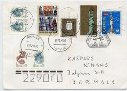 LATVIA 1991 Stationery Envelope 15 K. With Mixed Latvia/Soviet Union Franking.  Michel U3 - Latvia