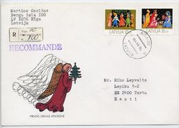 LATVIA 1993 Registered Cover With Christmas Stamps.  Michel 346-47 - Latvia