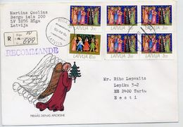 LATVIA 1993 Registered Cover With Christmas Stamps.  Michel 345-46 - Latvia