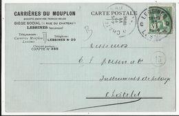 Entier Postal Publicitaire  - Reklame Briefkaart 1914 - Carrières Du Mouplon à LESSINES - Entiers Postaux