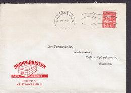 Norway SKIPPERKISTEN Gaveartikler KRISTIANSAND S. 1974 Cover Brief Denmark Reintier, Fisch Und Tierfalle Stamp - Norwegen