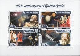 Maldives 2014 YT. 4457-60 Galileo Galilei Anniversary Telescopio Papa Satelliti CTO - Maldive (1965-...)