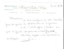 Facture Réservation HOTEL Des BECQUETS Anciennement Bella Vista,VILLARS Sur  Ollon,SUISSE;L Carmona Propriétaire 1963 TB - Switzerland