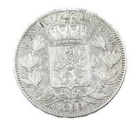 5 Francs  - Belgique - 1869 -  TTB -  Argent - - 09. 5 Francs