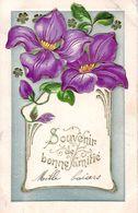 Souvenir De Bonne Amitié - Gaufrée - Fleurs - 1er Avril - Poisson D'avril
