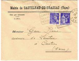ENVELOPPE  A EN-TETE MAIRIE DE CASTELNAU DE BRASSAC TARN AVEC DAGUIN - Marcophilie (Lettres)