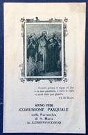 1926 LUSSINPICCOLO COMUNIONE PASQUALE  NELLA PARROCCHIA DI S. MARIA Mali Lošinj / Santino / CROAZIA - Religione & Esoterismo