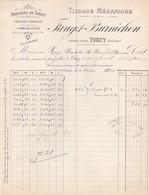 Facture Tissage Fanget Burnichon Thizy Rhône 1904 - France