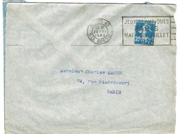 FLAMME FLIER JEUX OLYMPIQUES PARIS 1924 PARIS 47 SUR ENVELOPPE OUVERTE SUR 3 COTES - Ete 1924: Paris