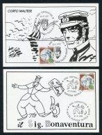 1991 Italy 6 X Roma Mostra Filatelica Cartoon Filatelia Giovane Postcards Corto Maltese, Tex Cowboy,Spiderman,Ken Parker - 6. 1946-.. Republik