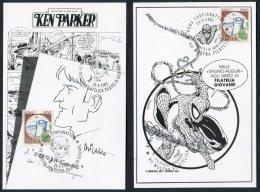 1991 Italy 6 X Roma Mostra Filatelica Cartoon Filatelia Giovane Postcards Corto Maltese, Tex Cowboy,Spiderman,Ken Parker - Comics