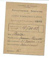 DOCUMENT De 1930.. CARTE ASSURANCES SOCIALES De L'ORNE (61).. Mme BERTIN Jeanne Le Tremblay LA LANDE PATRY (61) - Historical Documents