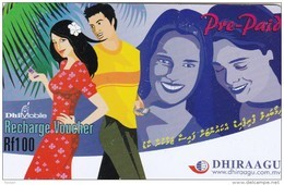 Maldives,  DhiMobile Rf 100, Couple, 2 Scans. - Maldives