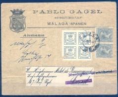 MALAGA - SOBRE CIRCULADO A HANNOVER , ED. 173 CON DENTADO PRIVADO , PABLO GAGEL EXPORTADOR DE VINO - 1889-1931 Regno: Alfonso XIII