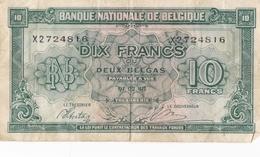 BELGIQUE BILLET DE 10 FRANCS / 2 BELGAS 1943 ALPHABET / X - 10 Francs-2 Belgas