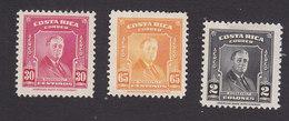 Costa Rica, Scott #C161, C163, C166, Mint Hinged, Roosevelt, Issued 1947 - Costa Rica
