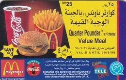 Qatar,  QTEL-GO-49B, Global One, Mc Donald's Quarter Pounder - Coca Cola, 2 Scans. - Qatar