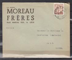 Brief Met Stempel Jupille Naar Magnee Moreau Fréres - 1953-1972 Lunettes