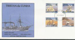 Tristan Da Cunha  - Mi.Nr. 500 - 503   FDC     Britische Kriegsschiffe Aus Der Zeit Vor Dem Ersten Weltkrieg. 1990 - Tristan Da Cunha