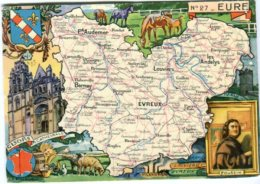Cp 27 Carte Geographique Touristique Eure Evreux Pont Audemer Les Andelys Bernay Louviers - Cartes Géographiques