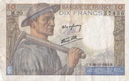 FRANCE BILLET DE 10 FRANCS MINEUR 26 / 11 / 1942   ALPHABET M.20 - 1871-1952 Gedurende De XXste In Omloop