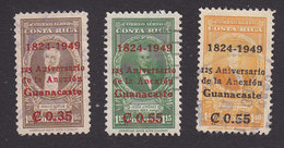 Costa Rica, Scott #C182, C184-C185, Used, Portraits Surcharged, Issued 1949 - Costa Rica