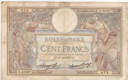 FRANCE BILLET DE 100 FRANCS LUC OLIVIER MERSON DE 1933 ALPHABET / O.42387 - 1871-1952 Gedurende De XXste In Omloop